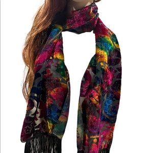 Womens scarf / see through and velour funky designs - fringes on ends -